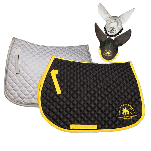 SAQ merchandise for the horse, shows dressage saddle pad and ear bonnet in white with black logo, all purpose saddle pad and ear bonnet in black with yellow trim and SAQ logo.