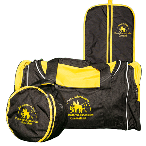 SAQ branded luggage, hat bag, bridle bag and sports bag black with yellow trim and logo.