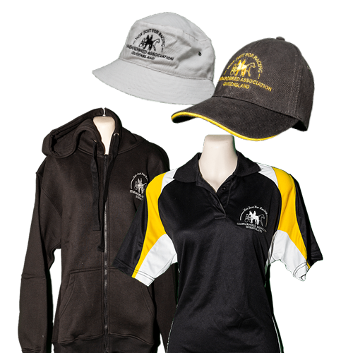 SAQ rider merchandise, including hats, caps, hoody and shirts